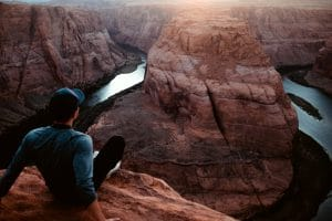 Male Looking At Horseshoe Bend